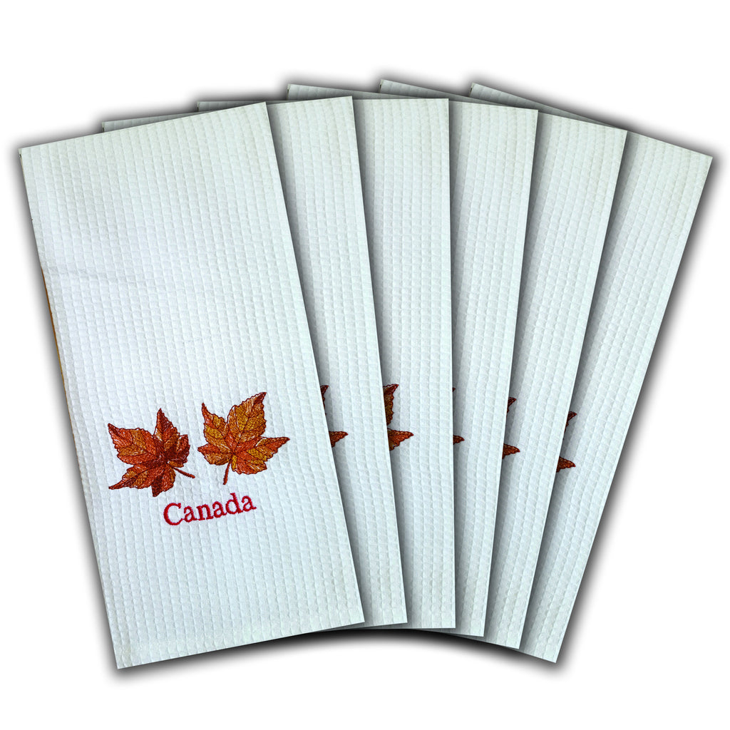 "WAFFLE WEAVE PURE COTTON EMBROIDERED KITCHEN/TEA TOWELS, SET OF 6, 18X28"" INCHES - CANADA MAPLE LEAF DESIGN"