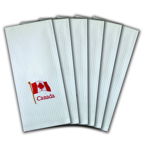 "WAFFLE WEAVE PURE COTTON EMBROIDERED KITCHEN/TEA TOWELS, SET OF 6, 18X28"" INCHES - CANADIAN FLAG DESIGN"