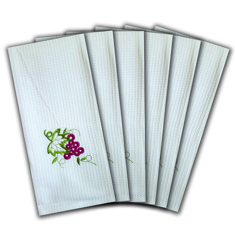 "WAFFLE WEAVE PURE COTTON EMBROIDERED KITCHEN/TEA TOWELS, SET OF 6, 18X28"" INCHES - GRAPES DESIGN"