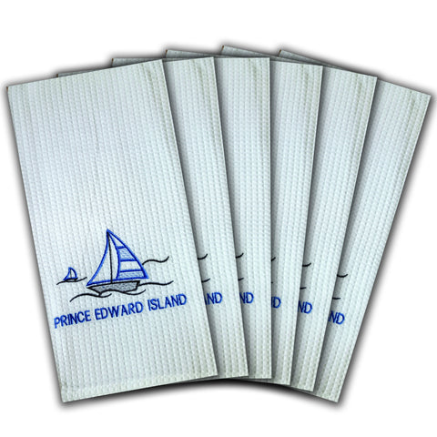 "WAFFLE WEAVE PURE COTTON EMBROIDERED KITCHEN/TEA TOWELS, SET OF 6, 18X28"" INCHES - PEI SAILING DESIGN"