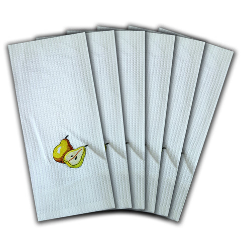 "WAFFLE WEAVE PURE COTTON EMBROIDERED KITCHEN/TEA TOWELS, SET OF 6, 18X28"" INCHES - PEARS DESIGN"