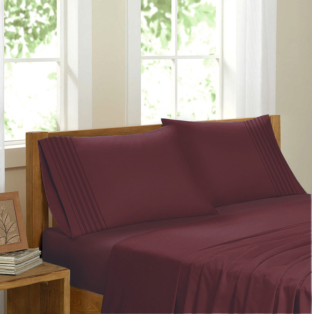 Swiss Collection Luxury 3600 Series Egyptian Comfort Sateen Sheet Set - Burgundy