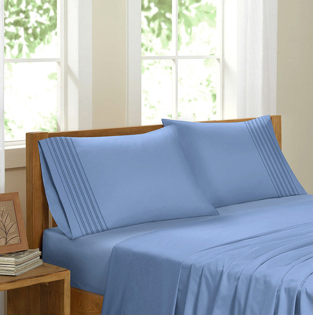 Swiss Collection Luxury 3600 Series Egyptian Comfort Sateen Sheet Set - Sky Blue