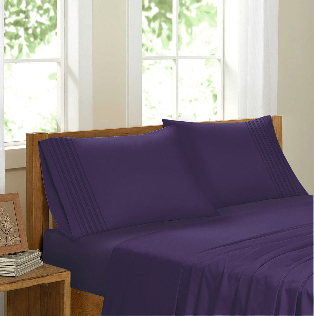 Swiss Collection Luxury 3600 Series Egyptian Comfort Sateen Sheet Set - Purple
