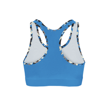 Load image into Gallery viewer, Blue Camo Back Color Sports Bra