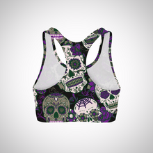 Load image into Gallery viewer, Purple Sugar Skulls Sports Bra