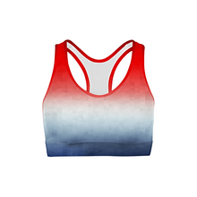 Load image into Gallery viewer, Patriotic Triangles Color Back Sports Bra