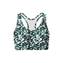 Load image into Gallery viewer, Green White Camo Back Color Sports Bra