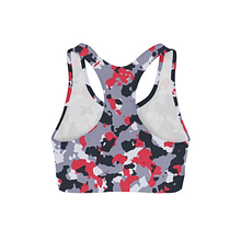 Load image into Gallery viewer, Red White Camo Sports Bra