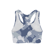 Load image into Gallery viewer, Dark Blue Camo Sports Bra
