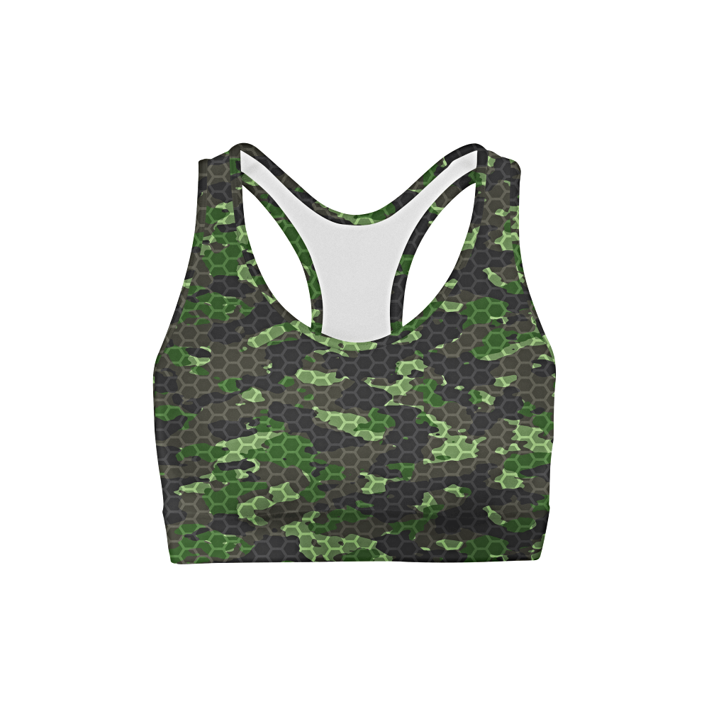 Army Hex Camo Back Color Sports Bra