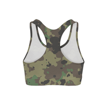 Load image into Gallery viewer, Dark Green Camo Sports Bra