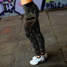 Load image into Gallery viewer, Crown of Thorns and Heart Leggings