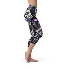 Load image into Gallery viewer, Nellie Yoga Purple Sugar Skulls