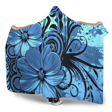 Load image into Gallery viewer, Blue Floral Hooded Blanket