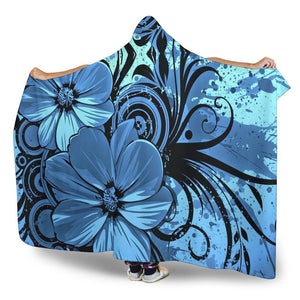 Blue Floral Hooded Blanket