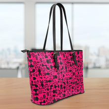 Load image into Gallery viewer, Cats Pink Large Leather Tote Bag