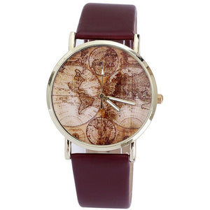 Women's World Map Leather Band Analog Quartz Wrist Watch Watches