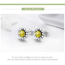 Load image into Gallery viewer, Sterling Silver Yellow Daisy Flower CZ Stud Earrings