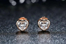 Load image into Gallery viewer, Fine Jewelry Heart Stud Earrings  925 Sterling Silver with CZS