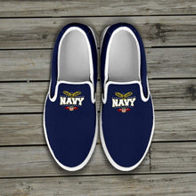 Load image into Gallery viewer, Navy Slip Ons