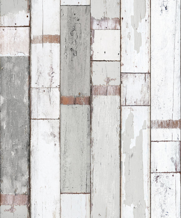 Reclaimed Wood Distressed Wood Panel Wood Grain Self-Adhesive Peel-Stick Wallpaper (VBS303)