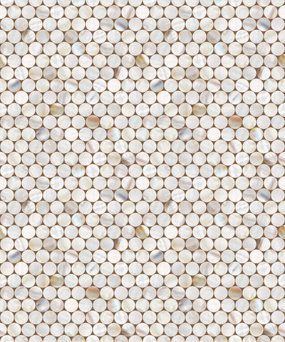 Shell Tile Circle Pattern Vinyl Contact Paper Self-adhesive Peel-stick Wallpaper