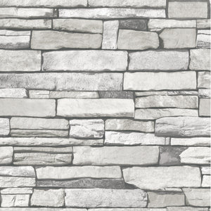 Natural Stacked Grey Stone Brick Pattern Vinyl Self-adhesive Peel-stick Wallpaper
