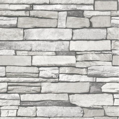 Natural Stacked Grey Stone Brick Pattern Vinyl Contact Paper Self-adhesive Peel-stick Wallpaper