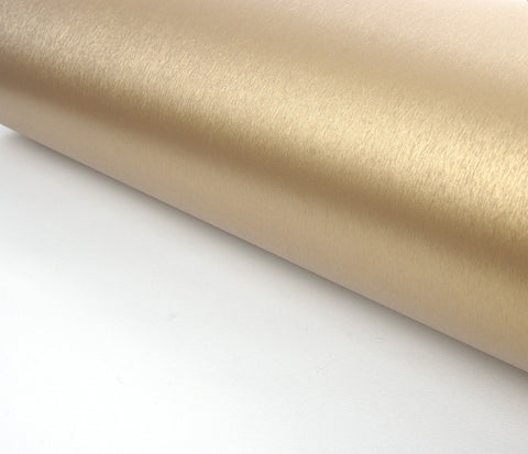 Brushed Metal Texture Contact Paper Film Vinyl Self Adhesive Peel-stick Removable (Gold)
