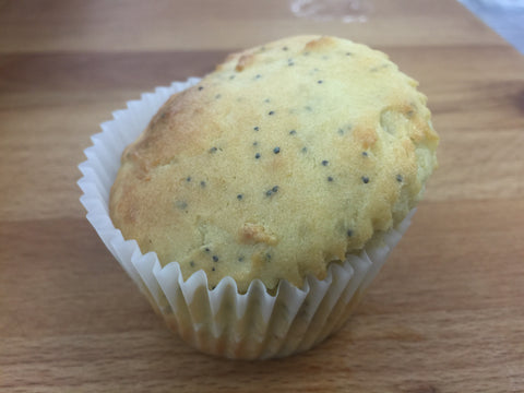 Gluten free low-sugar lemon muffin w maple syrup