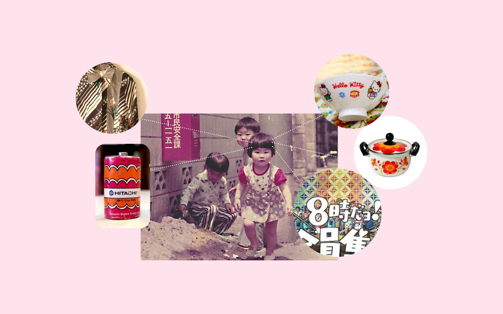 Moodboard of Japanese designer June Mineyama-Smithson and her childhood influences including colourful patterns of the 70s and 80s
