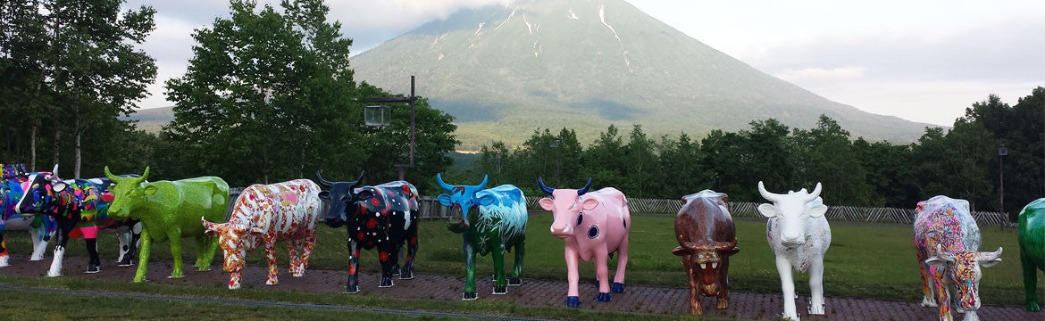 Mamimu Manhole cow (pink one in the middle) Cow Parade Niseko, Japan