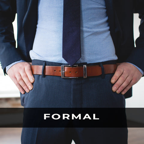Mens Formal Brown Leather Belt
