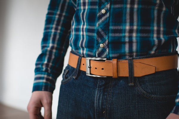 mens tan leather belt