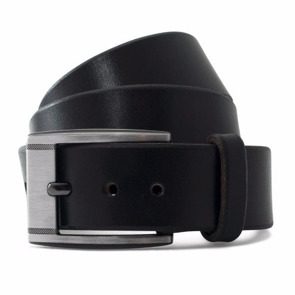 Black Solid Leather Casual Belt-Gunmetal Buckle