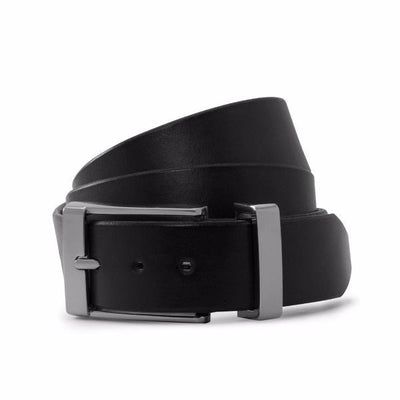 Black Solid Leather Formal Belt-Chrome Buckle