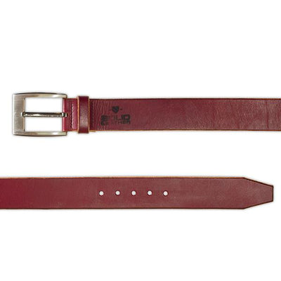 Burgundy Leather Designer Belt-Casual-Gunmetal Buckle