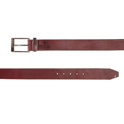 Mens burgundy designer formal belt-Chrome buckle and keeper