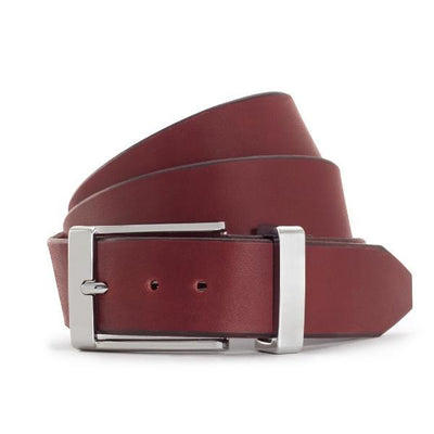 Burgundy Solid Leather Formal Belt-Chrome Buckle