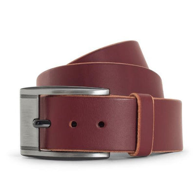 Burgundy Solid Leather Belt-Casual-Gunmetal buckle