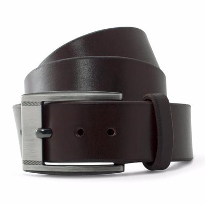 Chocolate Brown Solid Leather Casual Belt-Gunmetal Buckle