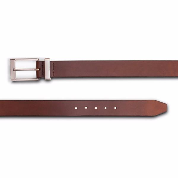 Mens dark brown designer formal belt-Chrome buckle and keeper