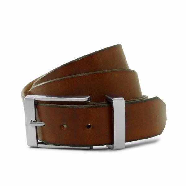 Dark Brown Solid Leather Formal Belt-Chrome Buckle