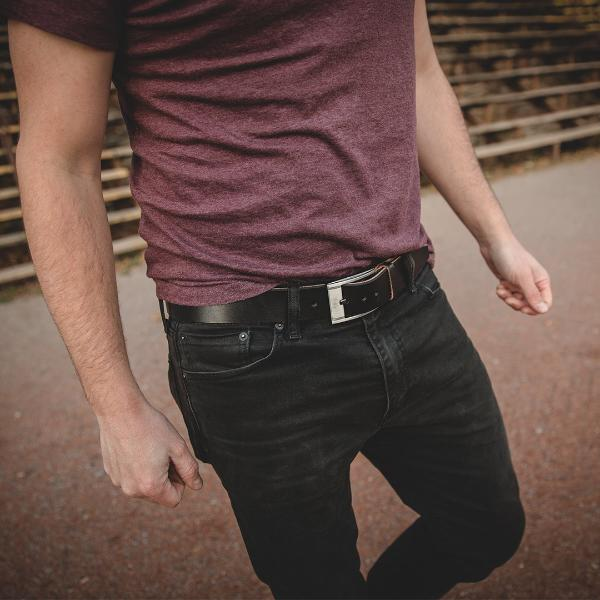 Mens Black Casual Leather Belt Gunmetal