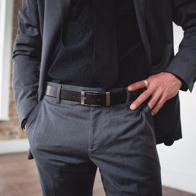 Men's Black Formal Designer Leather Belt-Chrome Style