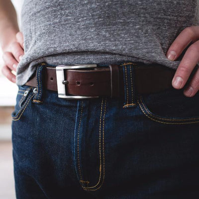 Men's Chocolate Brown Casual Designer Leather Belt-Gunmetal Style