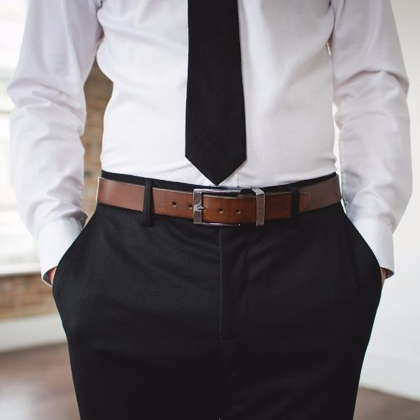 Men's Dark Brown Formal Designer Leather Belt-Chrome Style