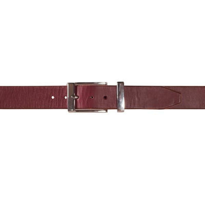 Mens formal leather in burgundy with chrome buckle and keeper