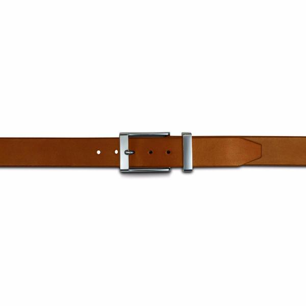 Mens formal leather dark brown with chrome buckle and keeper